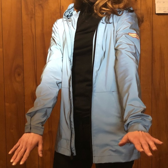 d85db8f9d Hunter Jackets & Blazers - Hunter target silver reflective packable raincoat
